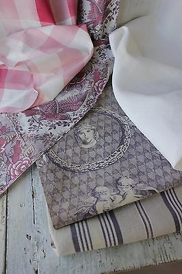 Antique French fabric vintage material PROJECT BUNDLE toile de Jouy faded 19th c