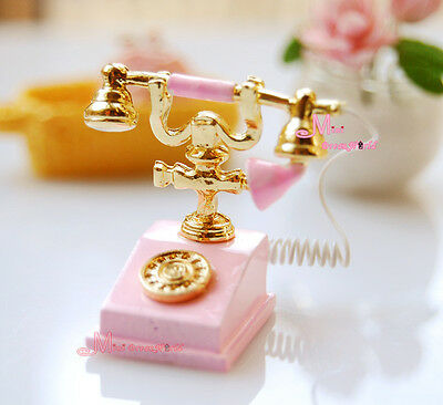 1/12 Dollhouse Miniature Lovely Pink Telephone Phone