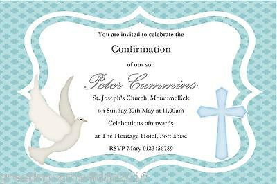 10 Personalised Confirmation Invitations Boy New Design 3