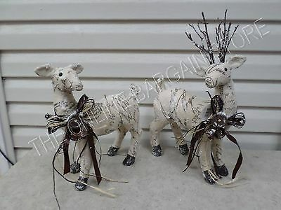 Frontgate Grandinroad Christmas Snow Frosted Reindeer Figures Decor Set 2 Small
