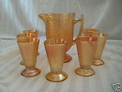 Jeannette CRACKLE Carnival Glass Pitcher and 7 Tumblers