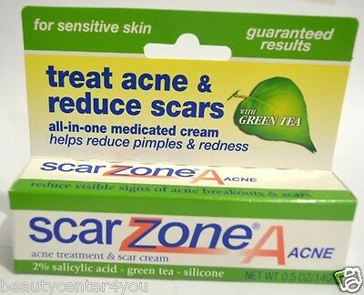 New!! Scar Zone Acne Treatment Cream 2% Salicylic Acid - Green Tea-  Silicone