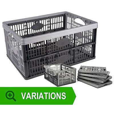Fold Able Plastic Storage Box Crates Basket 32 Litre Folding Office Warehouse 2
