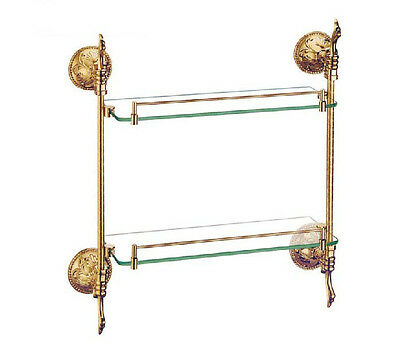 Wall Mounted Golden Bathroom Shower Caddy Cosmetic Shelf Dual Tier Glass Shelf