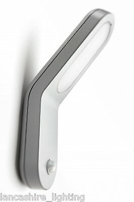 Modern Outdoor Wall Light With PIR Sensor Low Energy By Philips - Silver Finish