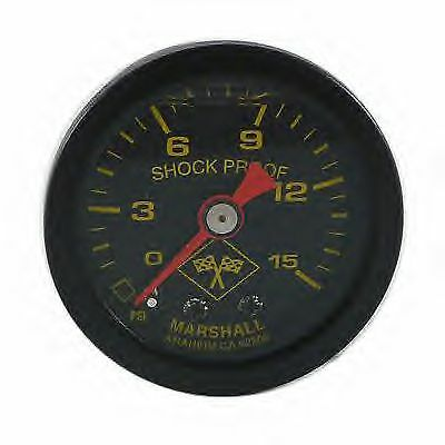 Marshall 0-15 PSI Fuel Pressure Midnight Black Face Liquid Filled Gauge 1.5""