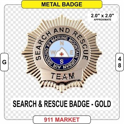 Gold Search & Rescue Badge SAR EMT Paramedic FF VFF SR Badge K9 Mountain - G49