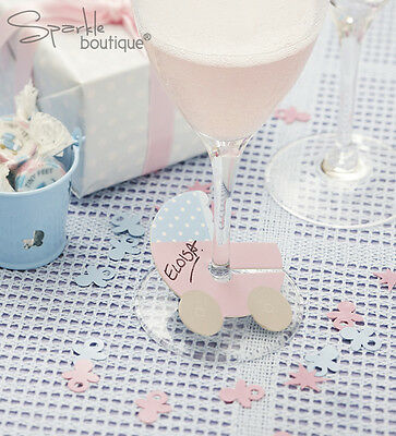 Baby Shower/Christening GLASS MARKERS-Unisex Party-FULL TINY FEET RANGE IN SHOP!