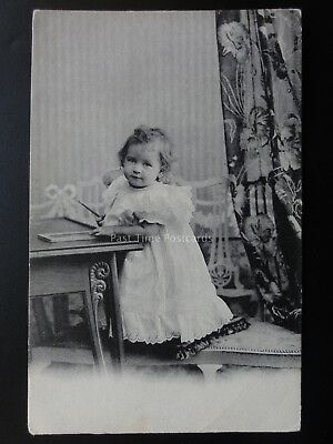 Small Child with Chalk & Slate at Table c1905 Pub by H.V. & Co of London