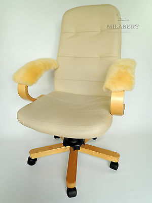Genuine Medical Sheepskin Armrest Cover Pad Office Chair / Wheelchair / Scooter