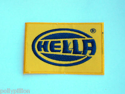 Motor Racing Rally Nascar Sew/iron On Patch:- Hella Yellow & Blue Block Logo