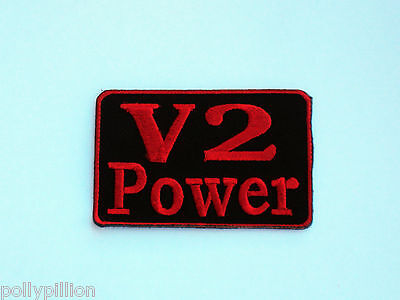 Motor Racing Rally Nascar Sew/iron On Patch:- V2 Power Red & Black Racing Logo