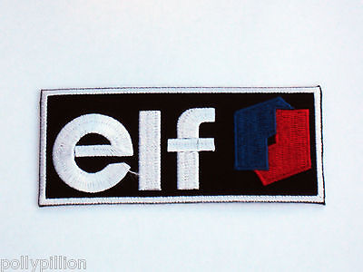 "Motor Racing Rally Nascar Sew/iron On Patch:- Elf Oils & Fuels ""black Stripe"""