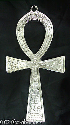 "Egyptian Ankh 4"" Brass Wall Hanging Engraved Cross key of Life Hieroglyphics 213"