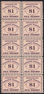 #rk22 Block Of 10 Vf+ Og Nh Consular Service Fee Stamps Wl5303
