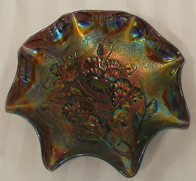 """Imperial Amethyst Carnival Glass Pansy Ruffled 9"""" Bowl"""