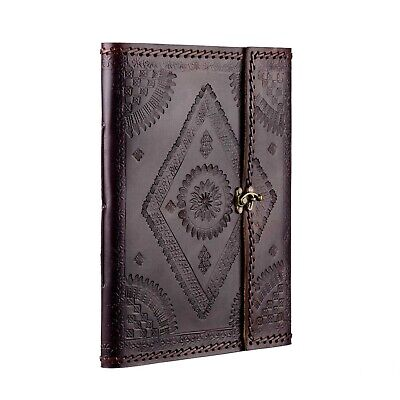Indra Fair Trade Handmade XL Stitched Embossed Leather Photo Album Scrapbook