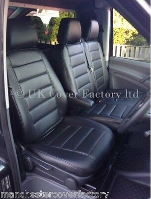 VW Transporter T5 T30 T32 Van Seat Covers BLACK QUILTED A120BK SAME DAY DISPATCH