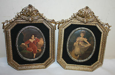 Vintage Illinois Moulding Co Ornate Gold Tone Molded Picture Frames with Prints