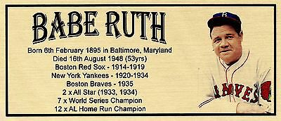 Babe Ruth Baseball Sublimated Gold Metal Plaque For Framing