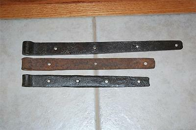 "3 Antique 16/13"" Hand Forged Iron Barn Door Wall Gate Strap Hinges"