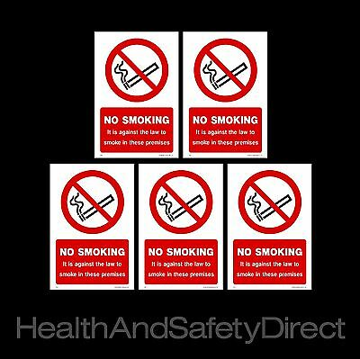 Pack of 5 No Smoking  - Window Sticker - It is against the law to smoke...