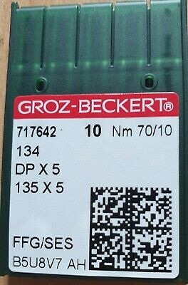 Groz Beckert Industrial Sewing Machine Ball Point Needles 134R Dpx5  Size 10/70