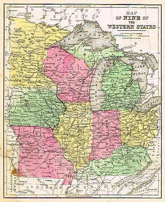 """Warren Map - """"MAP of the 9 WESTERN STATES"""" -  Hand-Colored Lithograph - 1873"""