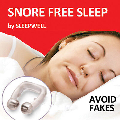SNORING STOPPER-SNORE FREE SLEEP-MAGNETIC NOSE CLIP RING-Advancement Device- NEW