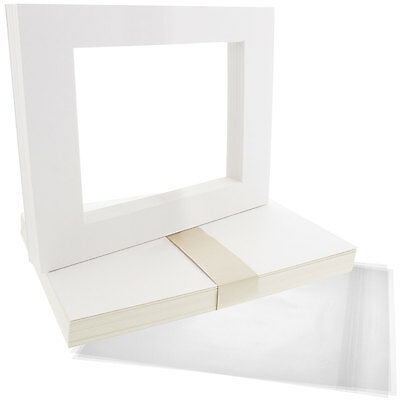 """25 8""""x10"""" White Picture Mat Set White Core Bevel 5""""x7"""" Photos Backers & Bags"""