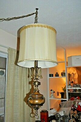 "Lg 33"" LONG Wood & Brass ELECTRIC SWAG LAMP LIGHT w ORNATE CHAINS Design RETRO"