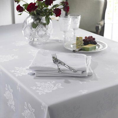 White Damask Rose Twill Polyester Table Cloth Cover - Matching Napkins Available