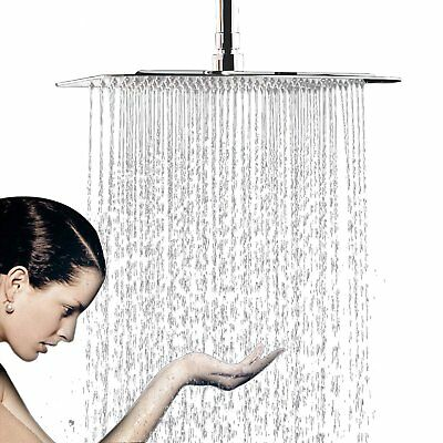 """12"""" Color Changing LED Ceiling & Wall Mounted Rain Square Shower Head Sprayer"""