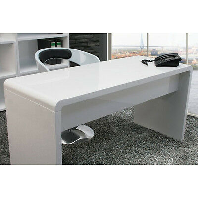 Office Desk :: Large High Gloss WHITE Workstatio​n Computer Work Reception Desk