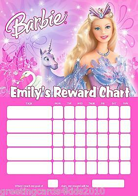 Personalised Barbie Reward Chart & Pen - with or without photo