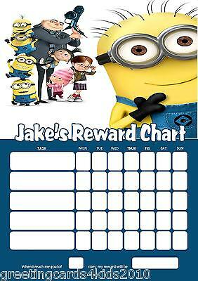 Personalised Despicable Me Minions Reward Chart & Pen - with or without photo
