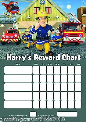Personalised Fireman Sam Reward Chart & Pen - with or without photo