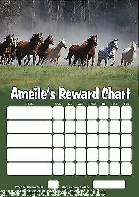 Personalised Horses Reward Chart & Pen - with or without photo