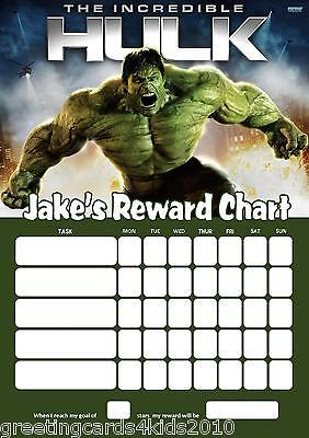 Personalised Hulk Reward Chart & Pen - with or without photo
