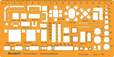 Metric 1:100 Architectural Architect Furniture Drawing Drafting Template Stencil