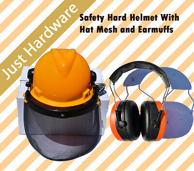 Safety Hard Helmet With Hat Mesh and Earmuffs