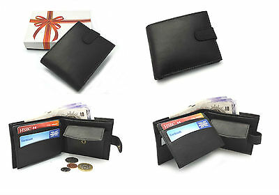 Mens Luxury Soft Black Leather Bifold Wallet Credit Card Coin Holder Purse Gift