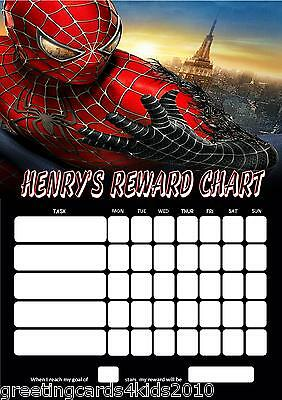 Personalised Spiderman Reward Chart & Pen - with or without photo