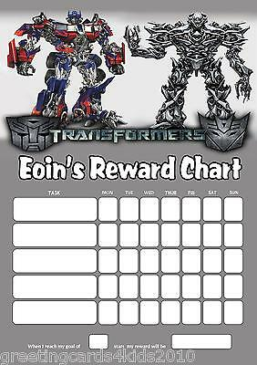 Personalised Transformers Reward Chart & Pen with or without photo
