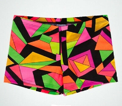 Body Wrappers 700 Girl's Small 4-6 (Fits 3-4) Geometry Dance Gym Hot Shorts