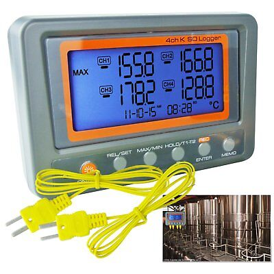 Thermocouple Thermometer K-Type 4 Channel Logger -200~1370°C / °F Beep LED Alarm
