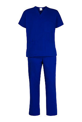 Medical Nursing Vet UNISEX Royal Blue Scrubs Set Scrub - Fast postage from AUS