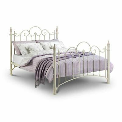 Florence Stone White Metal Victorian Style Bed with 4 Mattress, 3 Size Options