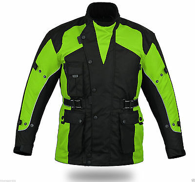 New Hi-Viz Safety Adventure Textile Jacket Ce Full Armour W/proof Motorcycle 2Xl