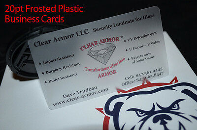 1000 20pt Full Color Rounded Corner Frosted Plastic Business Cards + Free Design